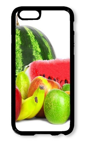 (Cunghe Art Custom Designed Black PC Hard Phone Cover Case For iPhone 6 4.7 Inch With Watermelon Apples Grapes Phone)