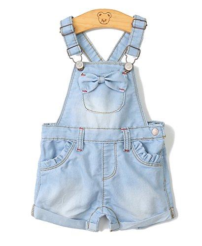 Kidscool Baby Girls Big Bibs Light Blue Summer Bowknot Jeans Shortalls,Light Blue,2-3 Years by Kidscool