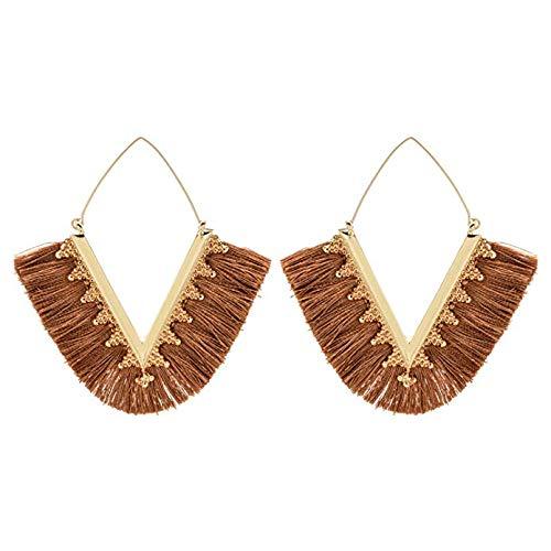 - Brown Tassel Earrings Fan Fringe Summer Statement Earrings for Women