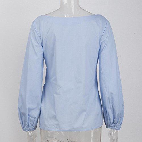 Bateau Haut Ansenesna Tops Femme Casual Shirt Tunique Ciel Chemise Longues Col Blouse Mini Volants Bleu Manches FCfBAqw