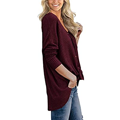IWOLLENCE Womens Waffle Knit Tunic Blouse Tie Knot Henley Tops Loose Fitting Bat Wing Plain Shirts at Women's Clothing store