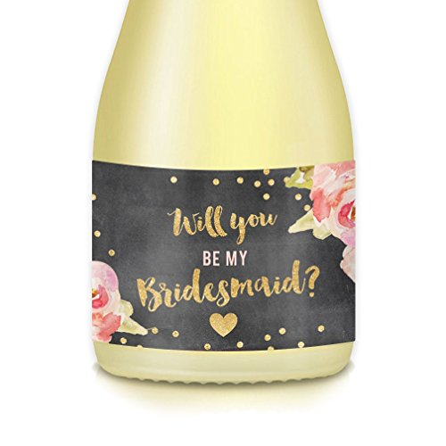 Will You Be My? MINI CHAMPAGNE BOTTLE LABELS Bridal Party Proposal Maid Matron of Honor Bridesmaid Mini Champagne or Wine Bottle Stickers, Wedding Attendant Gift Boxes, Bags, Favors 3.5