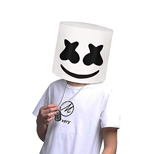 molezu Top 10 DJs Marshmello Helmet Music Festival Marshmallow Head Mask Halloween Costume Party Latex Mask -