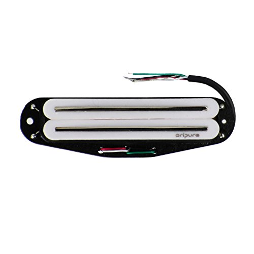 Oripure Hot Rail Pickups Single-Coil-Sized Humbucker 16K Alnico5 Guitar Pickup Fit Fender Strat Squier Tele Electric Guitar, White