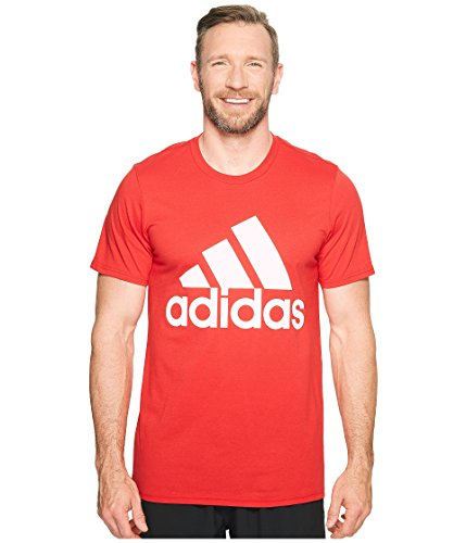 adidas Mens Big & Tall Badge of Sport Classic Tee Scarlet/White LG Tall