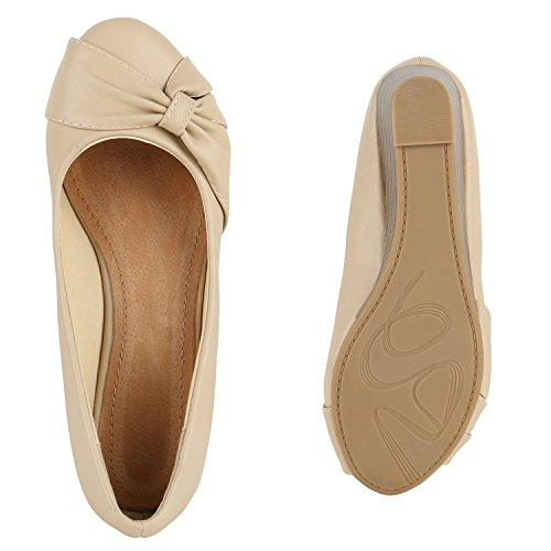 87ad5f333531fd ... Stiefelparadies Klassische Damen Pumps Keilabsatz Keilpumps Wedges  Schuhe Flandell Creme
