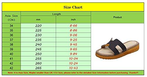 Plataforma Mujer Gruesa Marrón Zapatillas De Suela Sandalias Imitación Cuña Cuero Verano Playa Zapatos Linnuo Oqw0tE