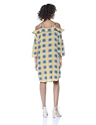 Wild Meadow Women's Off Shoulder Button Front Plaid Shirtdress