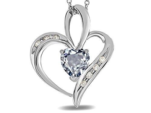 14k Heart Shape Slide (Star K Heart Shape 6mm Genuine Aquamarine Pendant Necklace 10 kt White Gold)