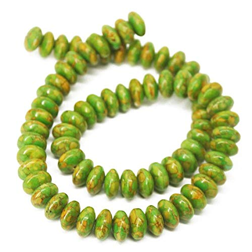 Beads Bazar Natural Beautiful jewellery Natural Green Turquoise Smooth Gemstone Rondelle Gemstone Loose Craft Beads Strand 15