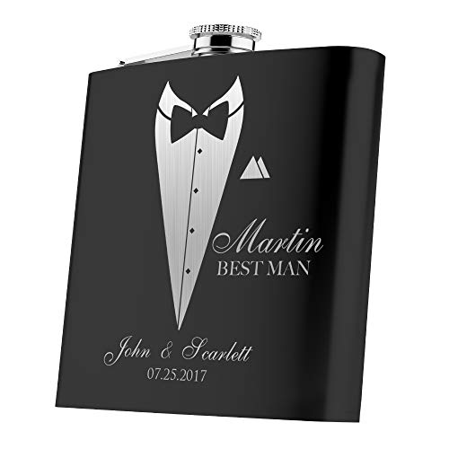Set of 6, Set of 3, Single - Personalized Flask, Groomsmen Gift, Customized Groomsman Flasks, Wedding Favors, Matte Black … -