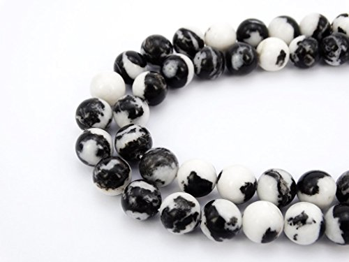 jennysun2010 Natural Black and White Zebra Jasper Gemstone 8mm Smooth Round Loose 50pcs Beads 1 Strand for Bracelet Necklace Earrings Jewelry Making Crafts Design Healing