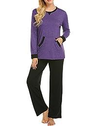 72faa32ed8 Pajama Set Women s Long Sleeve Pocket Sleepwear Soft Pj Set Loungewear S-XXL