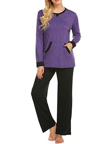 MAXMODA Soft Pajamas Long Sleeve Sleepwear Soft PJ Set with Pants Purple L by MAXMODA (Image #7)