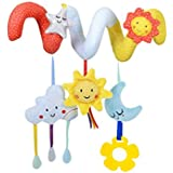 Car Seat Toy Infant Stroller Toy Baby Spiral Activity Crib Rail Toy Pram Rattles with Sun Moon