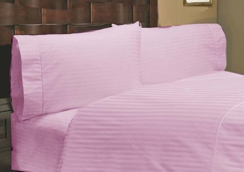 """UPC 888099658414, 500 Thread Count 1 PC Fitted Sheet 100% Egyptian Cotton Stripe Pink Full XL 22"""" Deep Pocket"""