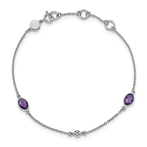 Amethyst & .01 Ctw (H-I, I2) Diamond Station Adj. Bracelet in Rhodium Plated Sterling Silver