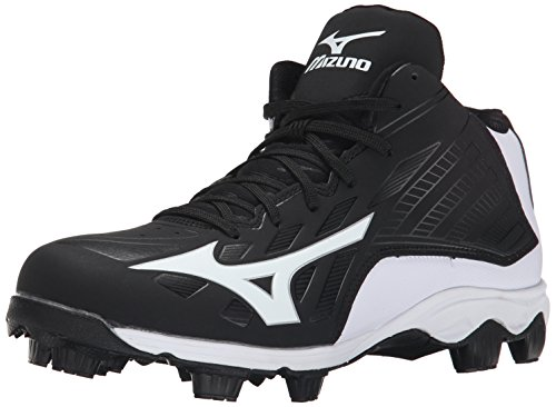 Mizuno Men's 9 Spike ADV FRHSE 8 Mid Baseball Cleat, Black/W