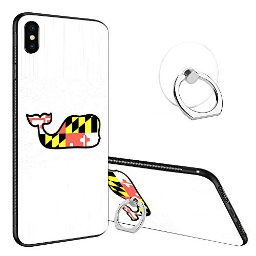 iPhone XR Case Tempered Glass Back Cases, Fashoin Design Maryland Whale Soft TPU Bumper Frame Case for Apple iPhone XR