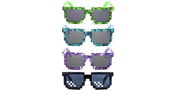 kilofly 4pc 8-Bit Pixel UV Protect Gamer Sunglasses Adult Kids Party Favors