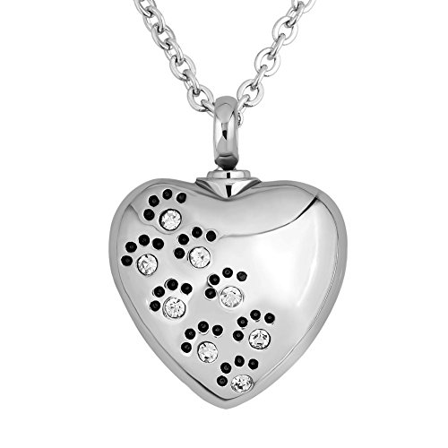 Q&Locket Heart Love Dog Paw Print With Stainless Steel Urn Necklaces For Ashes (White)