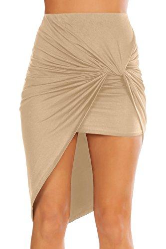 (Simlu Womens Drape up Stretchy Asymmetrical High Low Short Mini Bodycon Pencil Skirt Khaki X-Large)