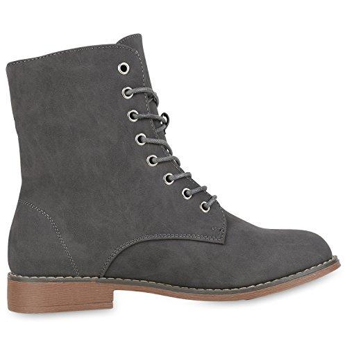 best-boots Damen Stiefelette Boots Worker Stiefel Grau Nieten Nuovo