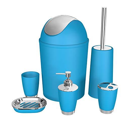 SOELAND Bathroom Accessories Set,6 Pcs Plastic Gift Set Toothbrush Holder,Toothbrush Cup,Soap Dispenser,Soap Dish,Toilet…