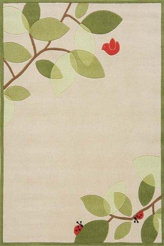 Botanical Ladybug and Bird Hand-Tufted Acrylic Rug - Lil Mo Whimsy LMJ-6 (4.0 ft. x 6.0 ft. Rectangle) (Denim Lil Mo Whimsy)