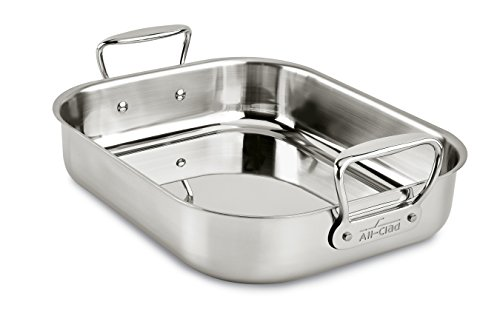All-Clad E752S264 Stainless Steel Dishwasher Safe Small 11-Inch x 14-Inch Roaster with Nonstick Rack Cookware, 14-Inch, Silver by All-Clad (Image #2)