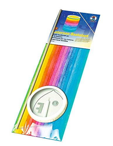 Ursus 7430000 Lantern Craft Set Rainbow Stripes, Lantern Cut-Outs of Tracing Paper, Lantern Cover and Base, Lantern Bar, Carry Handle, Candle Holder and Candle, Approx. 15.3 x 20 cm, Colourful