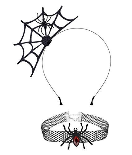 Merroyal Lace Cat Ears Headband Halloween Fancy Dress Cat Woman Hairband Cosplay (Black) (Spider