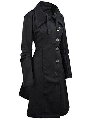Allonly Women's Button Closure Asymmetrical Hem Long Trench Black Cloak Coat,Black,XX-Large