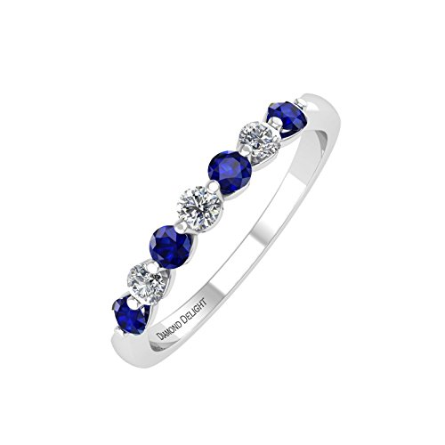 Diamond & Sapphire Wedding Ring - 8