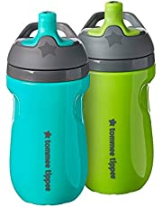 Tommee Tippee Insulated Sportee Toddler Water Bottle with Handle — 12m+, 2 Count (Pack of 1)
