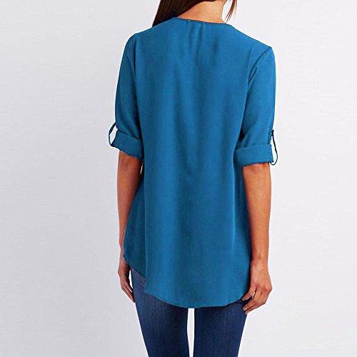 Sunenjoy Top T Lache Basique Mousseline Blouse Col Zipp V t Sauvage Mode Vtements Shirt Manche Femme Chic Longue Loose Bleu Haut Casual Chemisier Dame rwUpvqSr