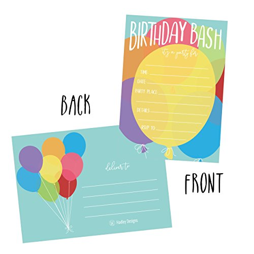 25 Balloon Rainbow Party Invitations For Kids Teens Adults
