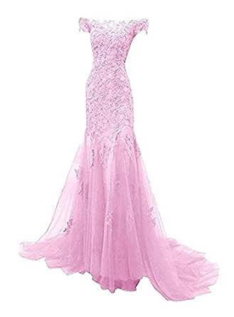 King's Love Off Shoulder Rhinestone Mermaid Prom Dresses Lace Applique Formal Evening Gowns Pink US8