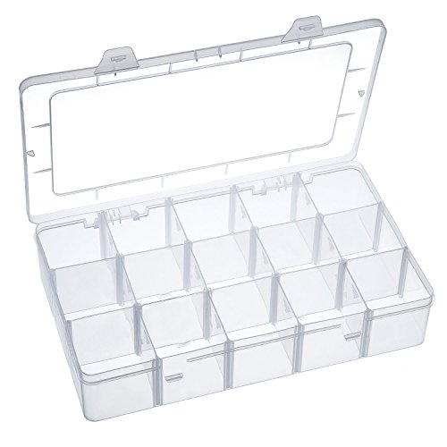 - Outus Crafts Organizer Storage Box for Washi Tape, Art Supplies and Sticker, 15 Compartments, Clear