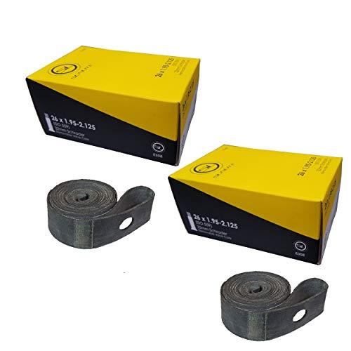 2 Pack - Tube & Rim Strips, Tube 26 x 1.95-2.125 Schrader Valve - Rim Strip, 26 x 20mm