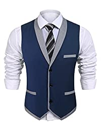 COOFANDY Men's Lapel Business Suit Vest Skinny Formal Wedding Dress Waistcoat