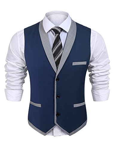 - JINIDU Mens Business Suit Vest Slim Fit Classic Lapel Formal Button Down Waistcoat (Medium, Blue)
