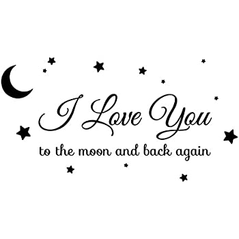 I love you to the moon and back again star illustrated wall art sayings vinyl sticker décor decal