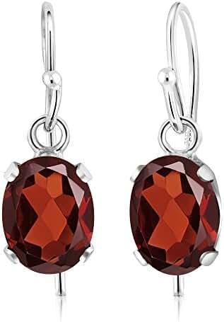 1.80 Ct Oval Natural Red Garnet Gemstone Birthstone 925 Sterling Silver Women's Dangle Earrings