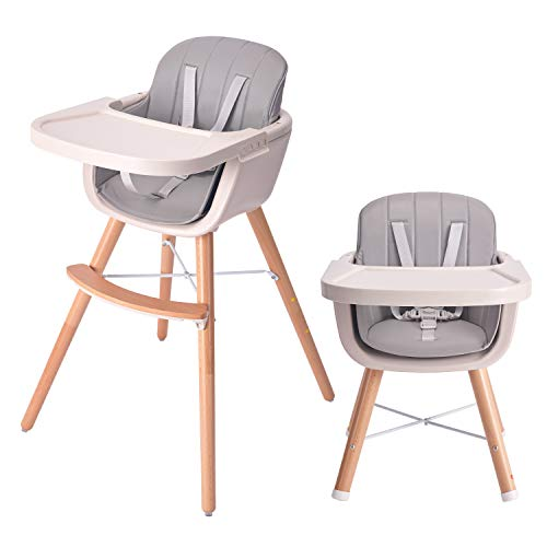 HAN-MM Baby High Chair with Removable Gray Tray, Wooden High Chair, Adjustable Legs, Harness, Feeding Baby High Chairs for Baby/Infants/Toddlers Style 2