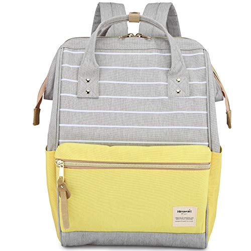 Himawari Travel Backpack Large Diaper Bag Doctor Bag Backpack School Backpack for Women&Men (Gray & Yellow)