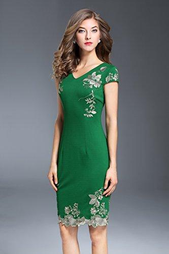 Manica Fit Ballo Corta Vestito Slim V A Verde Scollo Formale Da Cotiledone Partito Abiti Donna 4wAFFX