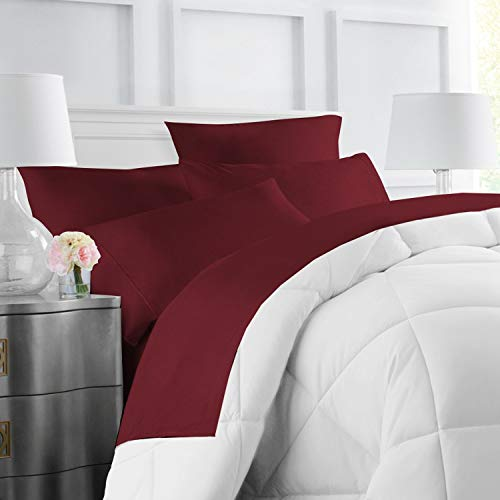 Egyptian Luxury Hotel Collection 4-Piece Bed Sheet Set - Deep Pockets, Wrinkle and Fade Resistant, Hypoallergenic Sheet and Pillow Case Set - King, Burgundy