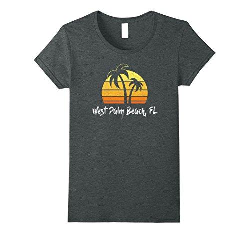 Womens Retro West Palm Beach T-shirt Florida Beach Shirt Medium Dark - West Fashion Beach Palm
