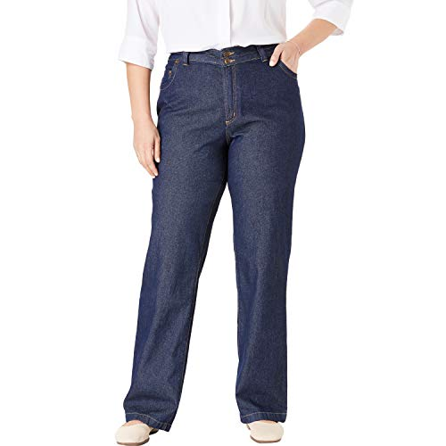 Woman Within Women's Plus Size Wide Leg Cotton Jean - Indigo, 24 W